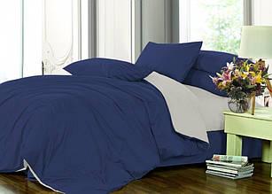 Элитное постельное белье сатин однотонный микс C.BLUE+L.GREY (Полуторный)