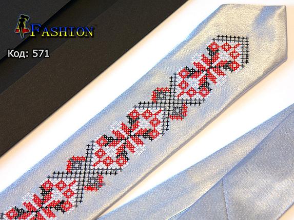Вышитый узкий галстук Андрей, фото 2