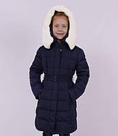 """Пальто зимнее, для девочки, утеплитель - """"Био-Пух"""", """"Квадратик с меховым воротником-хомутиком"""" """"SI"""" (717G)"""