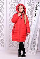 Детское зимнее пальто на девочку «Ангел»,красное