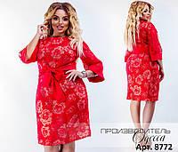 Нарядное женское платье органза-лен + плательный креп Размеры  48-50 2d3ba875e8763
