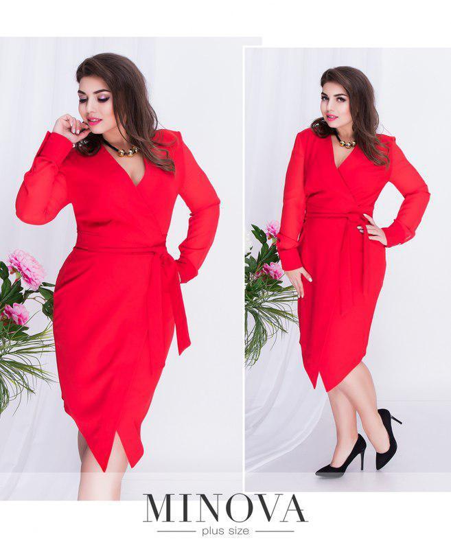 Платье на запах с поясом, ассиметричным подолом и полупрозрачными рукавами, Размеры:  50,52, 54