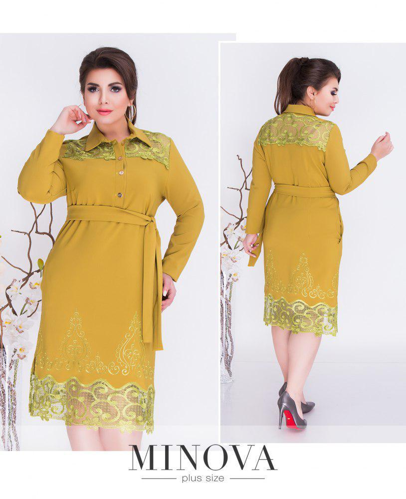Прямое платье-рубашка на пуговицах с поясом икружевными вставками, батал ТМ Minova Размеры:  52, 54
