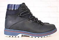 Ботинки мужские Columbia зимние кожаные черные на меху