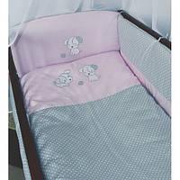 """Постельное белье в детскую кроватку для девочки для девочки """"песик"""" (серый с розовым) полная комплектация Медисон"""