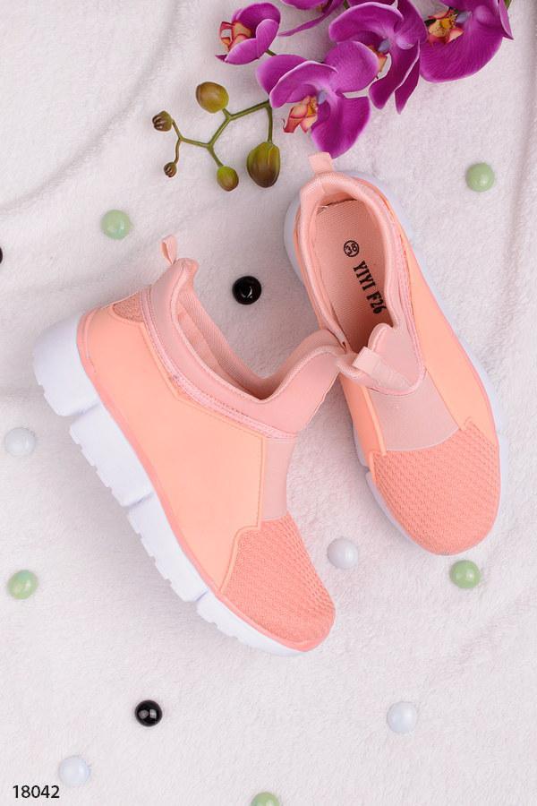 Женские кроссовки розовые (персиковый цвет) без шнуровки текстиль