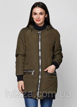 Женская куртка из матовой плащевки 44-50р хаки, фото 2