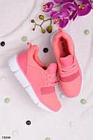 Женские кроссовки розовые на шнуровке текстиль, фото 1