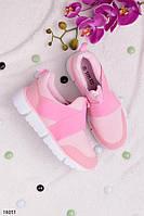 Женские кроссовки светло- розовые (пудра) без шнуровки, с резинкой, фото 1