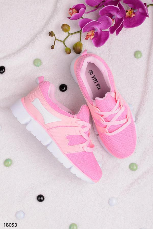 Женские кроссовки розовые на шнуровке текстиль