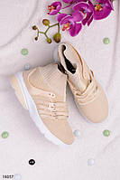 Женские кроссовки бежевые на шнуровке текстиль, фото 1