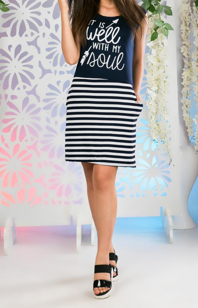 Платье с полосками женское Well (вискоза)