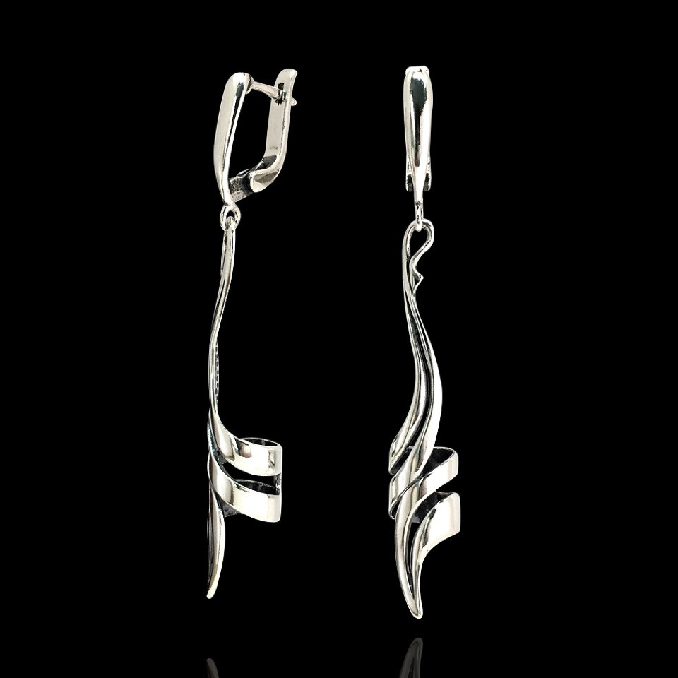 Cеребряные серьги-подвески Спираль
