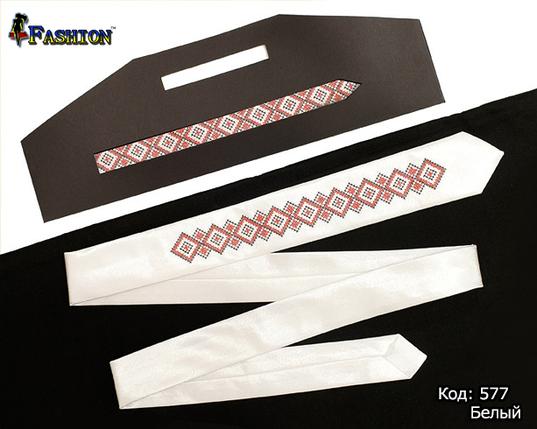 Вышитый белый узкий галстук Даниил, фото 2