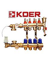 Коллектор для теплого пола Koer на восемь  контуров в сборе, фото 1