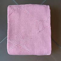 Плед вязанный хлопковый розового цвета
