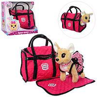 Собачка в сумочке Кикки М 1621, розовая, сумка-переноска, коврик, платье , ошейник