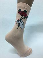 "Женский носок,100% хлопок, гладь, ""Букет"", ТМ ""ANGELO BUONO"""
