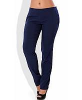Темно синие летние брюки из ткани софт 1261