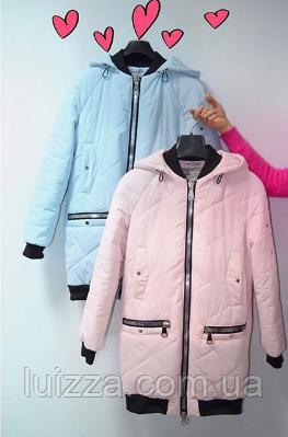 Женская куртка из матовой плащевки 44-50р розовый, фото 2