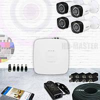 Комплект видеонаблюдения HDCVI 4-х канальный 720р KIT17-уличный