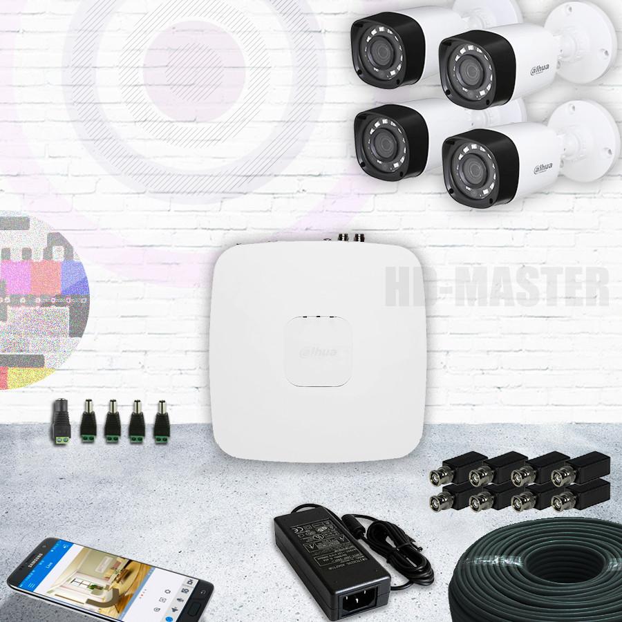 Комплект видеонаблюдения HDCVI 4-х канальный 1080р Dahua KIT6-уличный