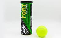 Мяч для большого тенниса Dunlop 602193 Fort All Court 3tin: 3 мяча в вакуумной упаковке, фото 1