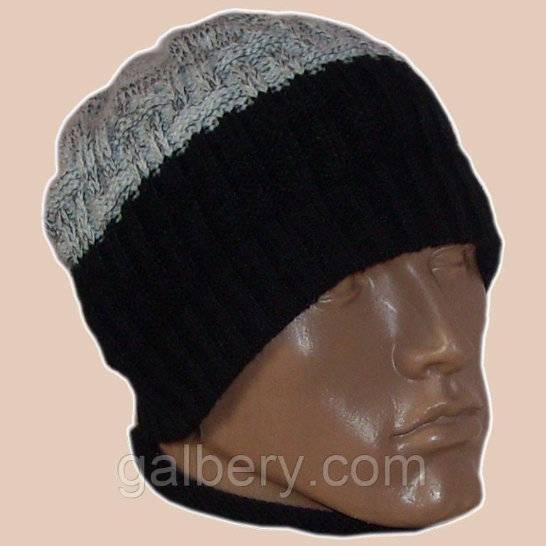 Вязаная мужская  шапка мраморного - черного цвета спортивного силуэта
