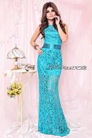 Платье женское нарядное гипюровое бирюза 2781