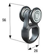 Каретка 2 ролика 24 мм.нейлон с кольцом