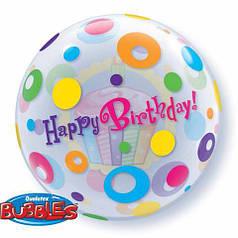 "Фол шар 22""/56 см Кружочки Happy birthday (Qualatex)"