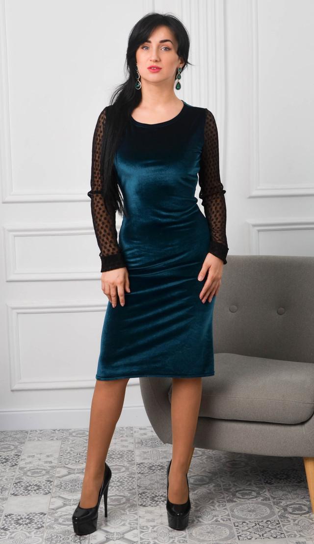 Изумрудное бархатное платье с длинными рукавами в сетку размер 42,44,46