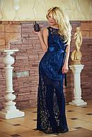 Платье женское нарядное гипюровое темно синее 2784, фото 1