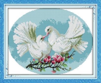 Любовь и голуби D227 Набор для вышивки крестом с печатью на ткани 14ст