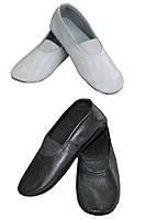 Чешки детские кожаные классические черные / белые, балетки