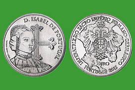 Португалия 5 евро 2015 г. Королева Изабелла , UNC