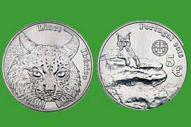 Португалия 5 евро 2016 г. Иберийская рысь , UNC