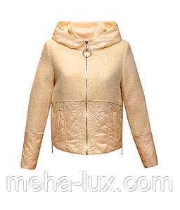 Куртка Zilanliya демисезонная короткая с капюшоном молочного цвета