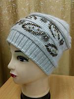 Женская шапка вязаная ангора на резинке р-р 55-57, полушерстяная, цвет серый, фото 1