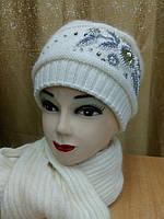 Шапка  вязаная c шарфом,  белый цвет, фото 1