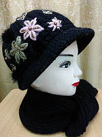 Комплект шапка и шарф, шапка с мягким полем, вязаная, полушерстяная, черный  цвет, фото 1