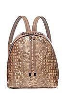 Женский городской рюкзак с тиснением крокодил, цвет капучино, итальянская кожа