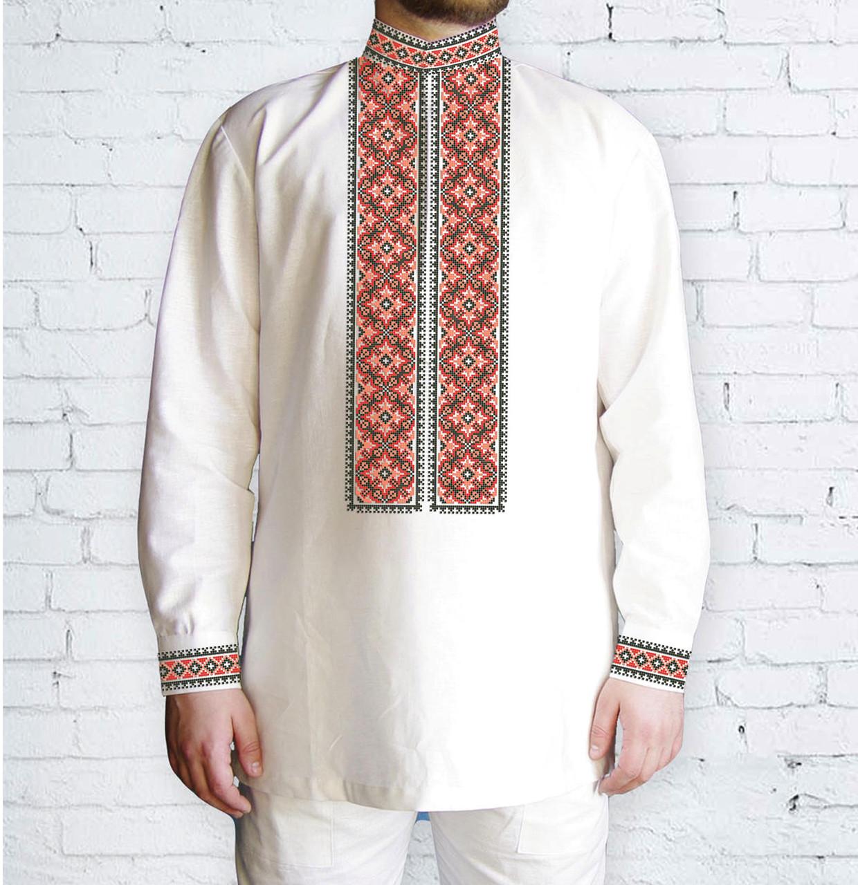 Заготовка чоловічої сорочки та вишиванки для вишивки чи вишивання бісером Бисерок «Орнамент 524 Ч» (Ч-524 Ч )