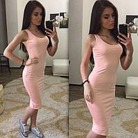 Платье миди майка светло розовое (код 008)