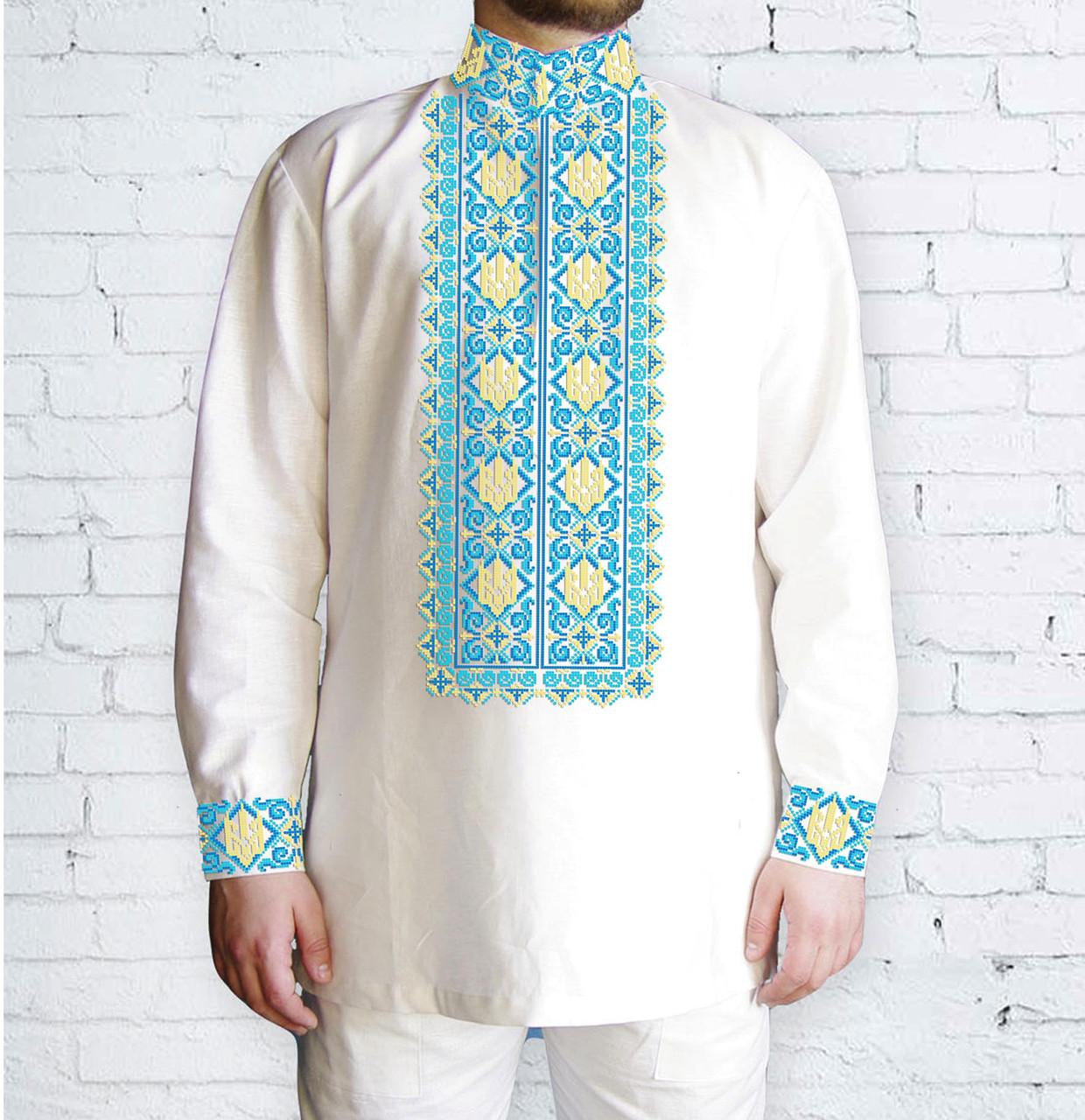 Заготовка чоловічої сорочки та вишиванки для вишивки чи вишивання бісером Бисерок «Тризуб в завитках» (Ч-527  Г )