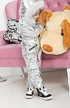 """Теплый детский дутый комбинезон для девочки """"SILVER"""" с капюшоном и карманами, фото 3"""