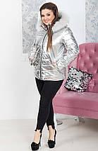 """Стеганая женская куртка на синтепоне """"SILVER"""" с капюшоном и карманами (большие размеры), фото 2"""