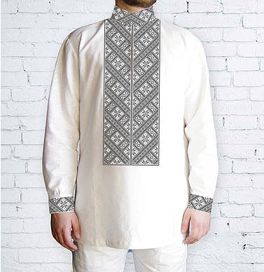 Заготовка чоловічої сорочки та вишиванки для вишивки чи вишивання бісером Бисерок «Орнамент 523 С» (Ч-523 С )