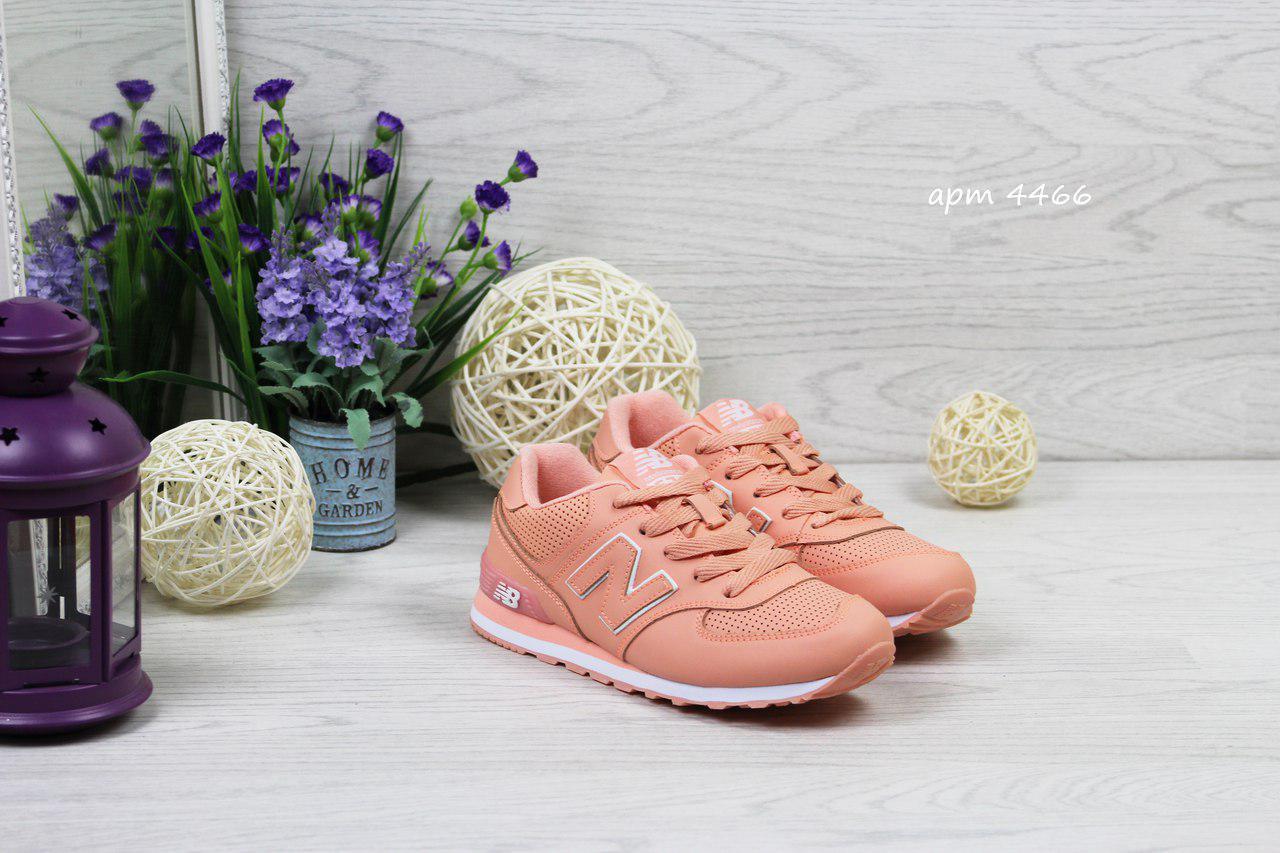 Женские кроссовки New Balance 574, Прес-кожа, Подошва пена, Персиковые