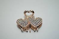 Краб Металлический маленький с камнями сердечко серебро, золото, чёрный
